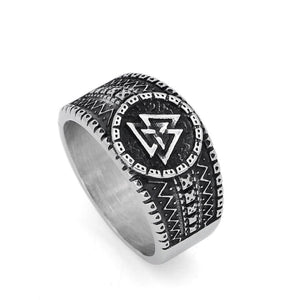 Mens  Stainless Steel Norse Valknut Rune amulet Ring