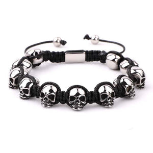 Men's Titanium Steel 'NO SKULLDUGGERY' Braided Wrap Bead Bracelet-4 Colors