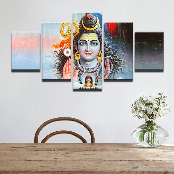 """7/"""" x 5/"""" Choices of Frames Shiva Family Hindu Gods Photo with framed in Size"""