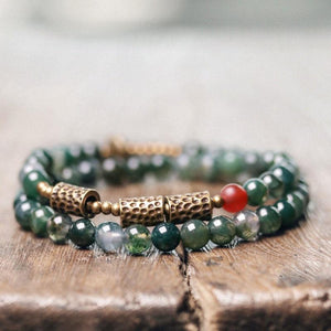Moss Agate & African Grass Jade  Hammered Copper Multi Wrap CLEANSING Bracelet