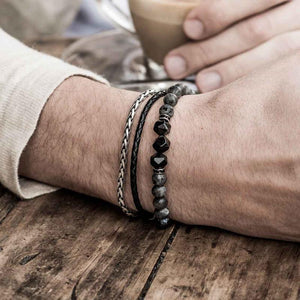 UPLIFTING Labradorite,Steel & Leather 3/pc Bracelet Set