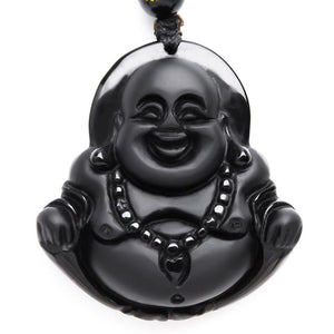 Natural Obsidian Laughing Buddha Pendant Necklace