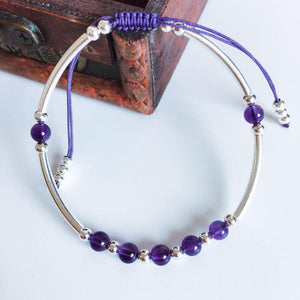 Natural Amethyst & 925 Sterling Silver Tube PROTECTION  Bracelet
