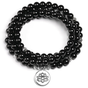 Premium AAA  Black 6mm Tourmaline Mala Bracelet-Choose your charm!
