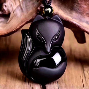 Natural Black Obsidian 'THE FOX' Responsiveness Pendant Necklace