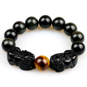 DOUBLE ATTRACTION Pixiu & Natural Obsidian with Tiger eye Bead Bracelet