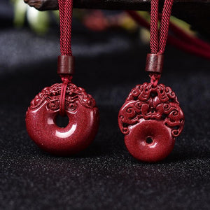 Hand Carved Purple Cinnabar OPULENCE attracting Double Pixiu Necklace