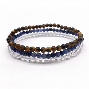 MEMORY, FOCUS & STUDY -Tiger Eye, Quartz & Sodalite- 3/pc  *MIGHTY MINIS*  Healing Energy Stone Bracelets