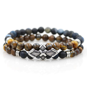 Quality Stainless Steel & Natural Stone Dual Layer RESILIENCE Bracelet Set-5 Stone Combos