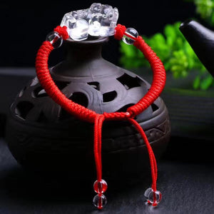 Hand Carved Clear Quartz FENG SHUI PIXIU 'AMPLIFIED PROSPERITY' Red Rope Bracelet