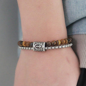 Stainless Steel ,Natural Tiger Eye/Obsidian STONE & VIKING RUNE Men's Bracelet