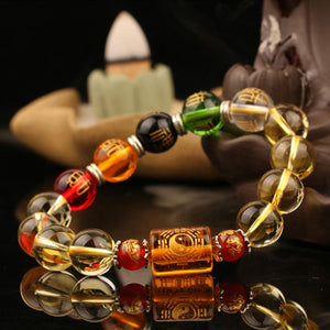 Natural Citrine & the 5 Elements GOD of WEALTH Bracelet
