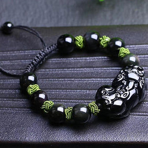 Natural Rainbow Eye Obsidian Pixiu HOPE & PROTECTION Bracelet