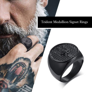Titanium Steel Neptune's Trident Medallion Signet Ring for Men