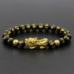NEVER FADE! Golden Steel Pixiu & Mantra FENG SHUI for WEALTH Obsidian Bracelet