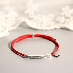 925 Sterling Silver Zirconia Accented Red Rope Bracelet
