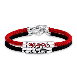 Sterling Silver Dragon and Phoenix 'LOVED UP COUPLE' Red Rope Bracelet