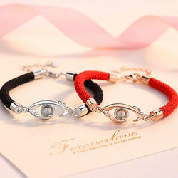 Sterling Silver 'I LOVE YOU in 100 Languages' Projection Crystal Evil Eye Red Rope Bracelet