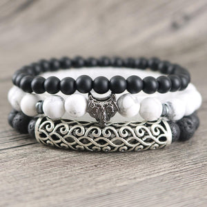 3/pc CALMING Set of Mens Howlite, Black Onyx & Lava Stone Bracelets