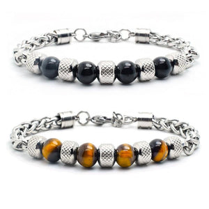Natural Obsidian/ Tiger eye & Titanium Steel EXEC STYLED Bracelet