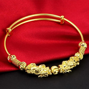 24K  Gold Plated DOUBLE PIXIU WEALTH  Attracting Feng Shui Bangle-33% off !