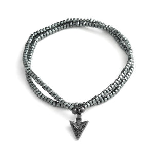 Men's 2 Layer  Hematite Beads with Arrowhead ALERTNESS  Bracelet/ Necklace