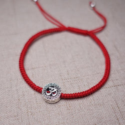 Sterling Silver OM- SONG of  the UNIVERSE  Red Rope  Bracelet