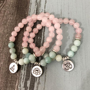 Rose Quartz & Amazonite EMOTIONAL HEALING Natural Stone Charm Bracelet
