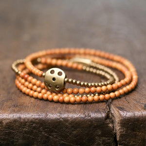 Ethnic Tibetan Olive Nut Wood Bead & Copper Accent ENERGY Bracelet