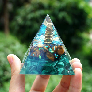 #229-Handmade Malachite, Tiger Eye & Chalcopyrite Crystal Point 'AWAKEN INNER SIGHT' ORGONITE Pyramid