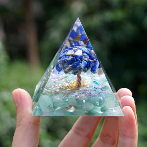 #233-Handmade Lapis Lazuli & Green Aventurine TREE of LIFE 'BALANCE YOUR CHAKRAS ORGONITE Pyramid