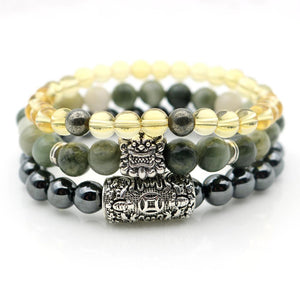 Mens Pi Xiu & Stone $$ ULTIMATE MONEY MAGNETS  3/pc Bracelet Set