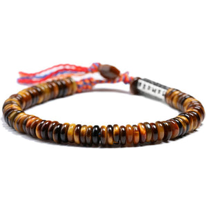 Tibetan Buddhist OM Mantra & Tiger Eye Abacus Bead AWARENESS Bracelet