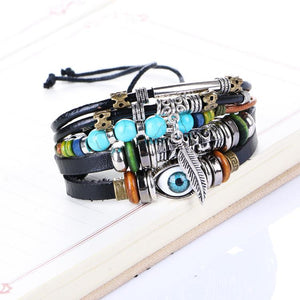 Adjustable Multi-layer Ethnic Evil Eye Leather Charm Bracelet