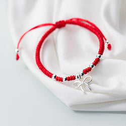 925 Sterling Silver CUTE  BOW  knot  Lucky Red Bracelet