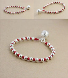 925 Sterling Silver TRANQUILITY Bell Lucky Red Rope Bracelet