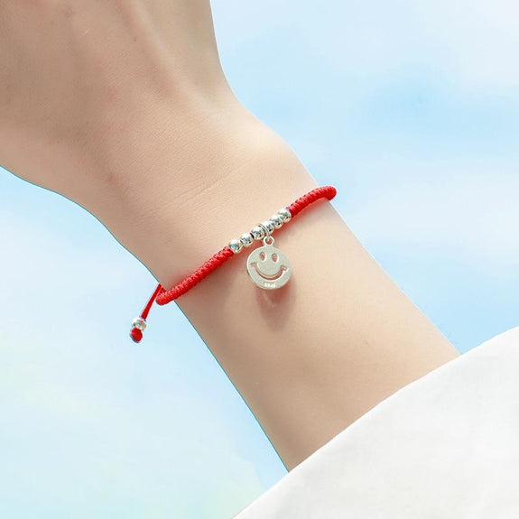 c37d9840f8b85 🙂Sterling Silver Smiling Face Red Rope HAPPINESS EMOJI Bracelet🙂