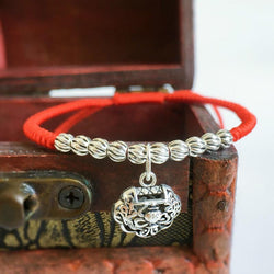 Sterling Silver Lock Charm- STAY SAFE Red Rope  Bracelet