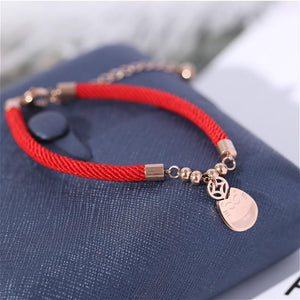 Plated Rose Gold Titanium Steel LUCKY FORTUNE CAT Red Rope Bracelet- No Fading!
