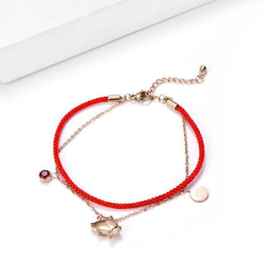 YEAR OF THE PIG Titanium 18 K Rose Gold SIMPLY PIG Red Rope Bracelet
