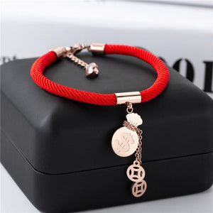 18k Plated Rose Gold Titanium Steel MONEY GOURD Red Rope Bracelet- No Fading!