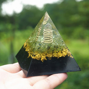 #246- Handmade Peridot, Shungite & Rose Quartz Point 'RELIEVE EMOTIONAL STRESS' ORGONITE Pyramid