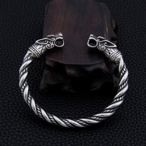 Stainless Steel Double Dragon Head Men's Torc Bracelet