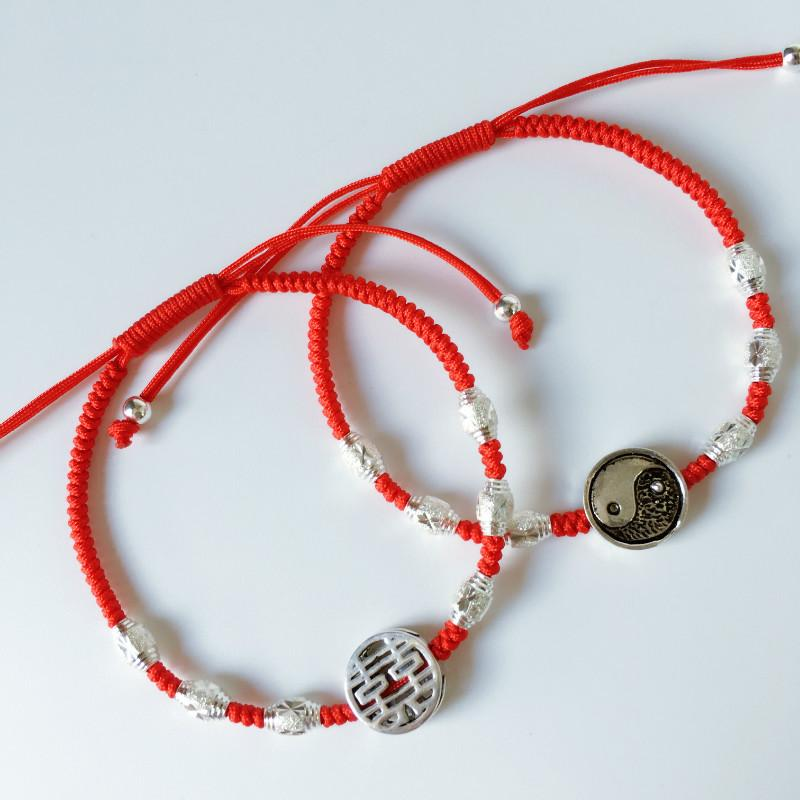 Claw Crane Lucky Charm coin necklace red string