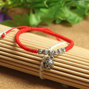 Sterling Silver TIBETAN WIND BELL Red Rope Bracelet