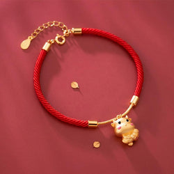 24k Sterling Silver 2021 Ox for Love or Ox for Luck  Red Rope Bracelet