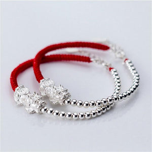PURE Silver WEALTH ATTRACTING PIXIU & Red Rope Bracelet