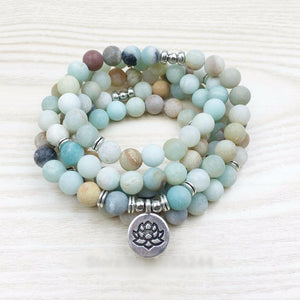 Beautiful Matte Amazonite 108 Bead HEALING Mala Bracelet/Necklace