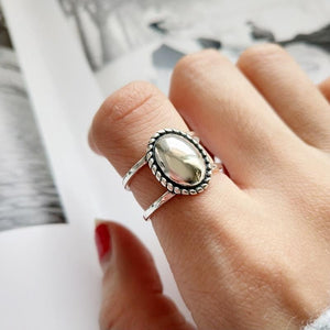 925 Sterling Silver Oval 'MIRROR MIRROR' Adjustable Sizing Ring