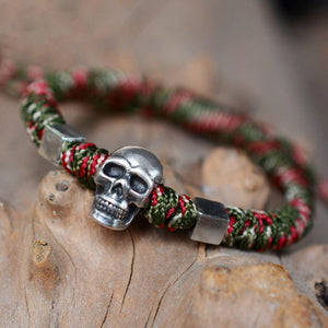 Hand Braided PURE 999 SILVER SKULL Rope bracelet